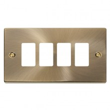 Click Deco Antique Brass 4 Gang Grid Pro Front Plate VPAB20404