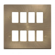 Click Deco Antique Brass 8 Gang Grid Pro Front Plate VPAB20508