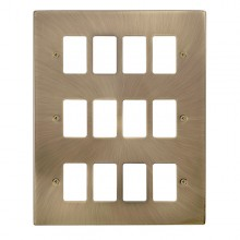 Click Deco Antique Brass 12 Gang Grid Pro Front Plate VPAB20512