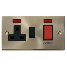 Click Deco Antique Brass 45A DP Switch & Socket + Neon VPAB205BK