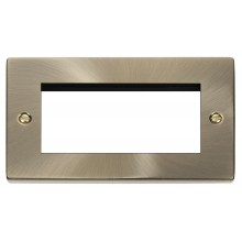 Click Deco Antique Brass New Media Quad Aperture  Plate VPAB312