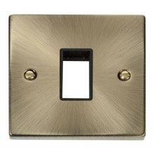 Click Deco Antique Brass Single Plate 1 Gang Aperture VPAB401BK