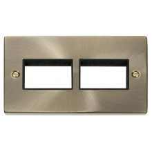 Click Deco Antique Brass Double Plate 6 Gang Aperture VPAB406BK