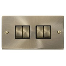 Click Deco Antique Brass 4 Gang 2 Way Switch VPAB414BK