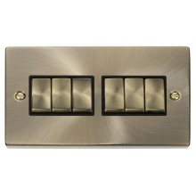 Click Deco Antique Brass 6 Gang 2 Way Switch VPAB416BK