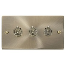 Click Deco Antique Brass 3 Gang 2 Way Toggle Switch VPAB423