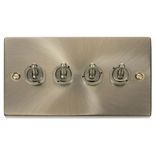 Click Deco Antique Brass 4 Gang 2 Way Toggle Switch VPAB424
