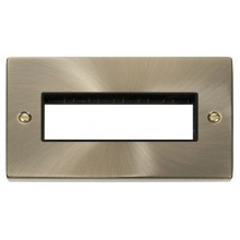 Click Deco Antique Brass Double Plate 6 Gang Aperture VPAB426BK