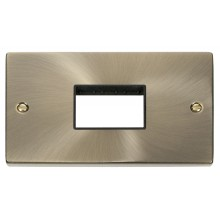 Click Deco Antique Brass Double Plate 3 Gang Aperture VPAB432BK