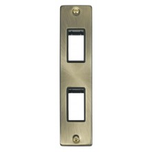 Click Deco Antique Brass 2 Gang Architrave Plate VPAB472BK