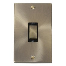 Click Deco Antique Brass 2 Gang 45A Vertical DP Switch VPAB502BK