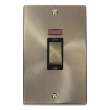 Click Deco Antique Brass 2G 45A Vertical DP Sw Neon VPAB503BK