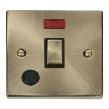 Click Deco 20A Switch Ingot DP c/w Flex Outlet & Neon Antique Brass VPAB523BK