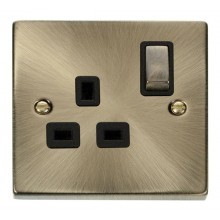 Click Deco Antique Brass 13A Single Switched Socket VPAB535BK