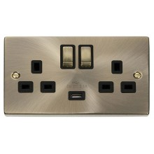 Click Deco Antique Brass USB Double Switched Socket VPAB570BK