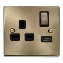 Click Deco Antique Brass USB Single Switched Socket VPAB571BK