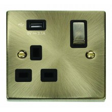 Click Deco 13A 5V 2.1A Socket Ingot 1 Gang Switched & USB Outlet Antique Brass VPAB571UBK