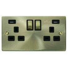 Click Deco Antique Brass Twin USB Double Socket VPAB580BK