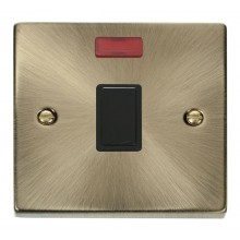 Click Deco Antique Brass 20A Double Pole Switch + Neon VPAB623BK