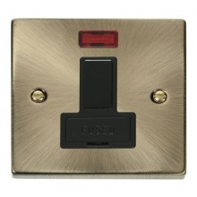 Click Deco Antique Brass Switched Fused Spur with Neon VPAB652BK