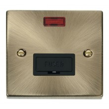 Click Deco Antique Brass Unswitched Fused Spur + Neon VPAB653BK