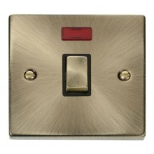 Click Deco Antique Brass 20A Double Pole Switch + Neon VPAB723BK
