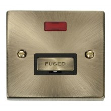 Click Deco Antique Brass Unswitched Fused Spur + Neon VPAB753BK