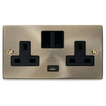 Click Deco Antique Brass USB Double Switched Socket VPAB770BK
