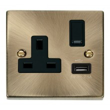 Click Deco Antique Brass USB Single Switched Socket VPAB771BK