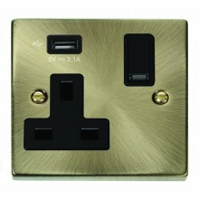 Click Deco 13A 5V 2.1A Socket 1 Gang Switched & USB Outlet Antique Brass VPAB771UBK
