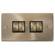 Click Smart Deco Antique Brass 2 Gang 4 Aperture VPABBK-SMART4