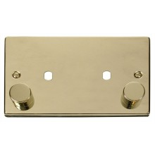 Click Deco Polished Brass Twin Dimmer Plate 1630W Max VPBR186