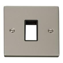 Click Deco Pearl Nickel Single Plate 1 Gang Aperture VPPN401BK
