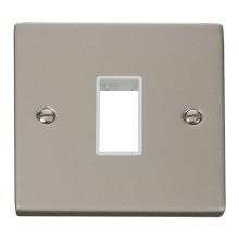 Click Deco Pearl Nickel Single Plate 1 Gang Aperture VPPN401WH