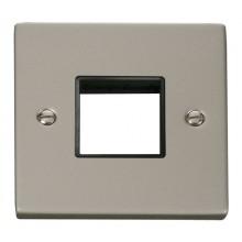 Click Deco Pearl Nickel Single Plate 2 Gang Aperture VPPN402BK