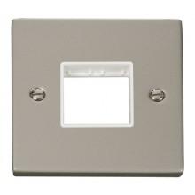 Click Deco Pearl Nickel Single Plate 2 Gang Aperture VPPN402WH