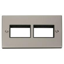 Click Deco Pearl Nickel Double Plate 6 Gang Aperture VPPN406BK