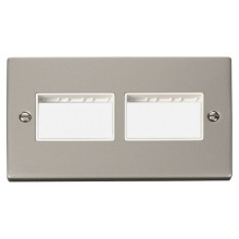 Click Deco Pearl Nickel Double Plate 6 Gang Aperture VPPN406WH