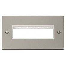 Click Deco Pearl Nickel Double Plate 6 Gang Aperture VPPN426WH