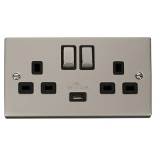 Click Deco 13A 2.1A Socket Ingot 2G Switched c/w USB Outlet Pearl Nickel VPPN570BK