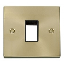 Click Deco Satin Brass 1 Gang Plate Single Aperture VPSB401BK