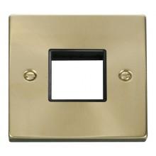 Click Deco Satin Brass 1 Gang Plate Twin Aperture VPSB402BK