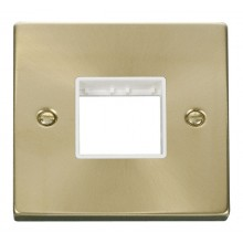 Click Deco Satin Brass 1 Gang Plate Twin Aperture VPSB402WH