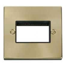 Click Deco Satin Brass 1 Gang Plate Triple Aperture VPSB403BK