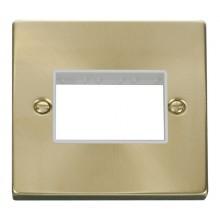 Click Deco Satin Brass 1 Gang Plate Triple Aperture VPSB403WH
