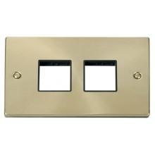 Click Deco Satin Brass 2 Gang Plate Quad Aperture VPSB404BK