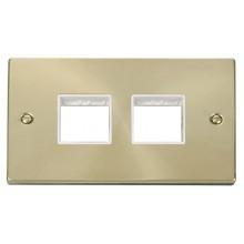 Click Deco Satin Brass 2 Gang Plate Quad Aperture VPSB404WH