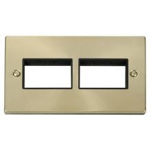 Click Deco Satin Brass 2 Gang Plate 6 Aperture VPSB406BK