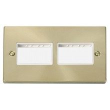 Click Deco Satin Brass 2 Gang Plate 6 Aperture VPSB406WH