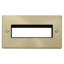 Click Deco Satin Brass 2 Gang Plate 6 In-Line Aperture VPSB426BK